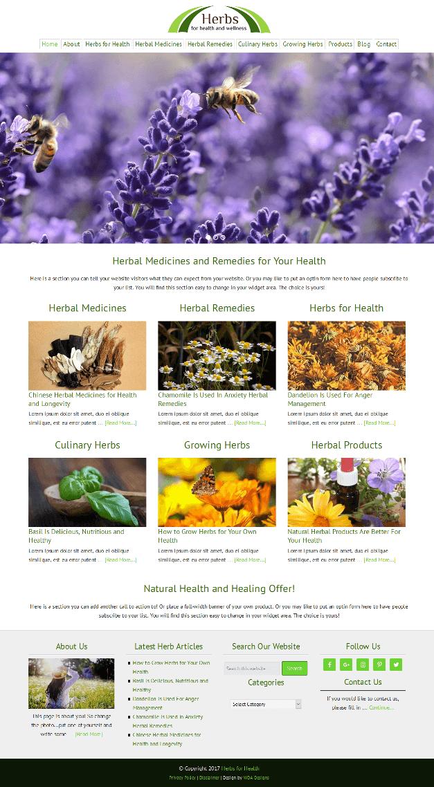 Herbs for Health Website Screenshot