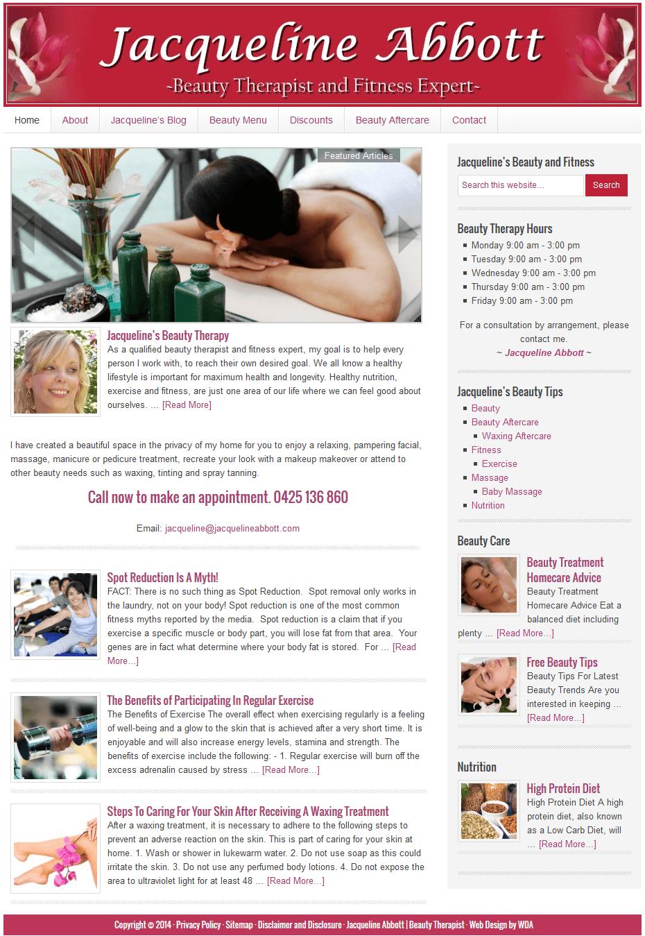 Jacqueline Abott Beauty Therapist Website