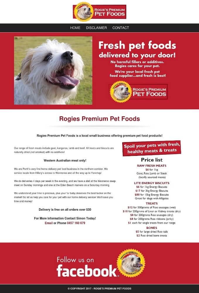 Rogies Premium Pet Foods Website